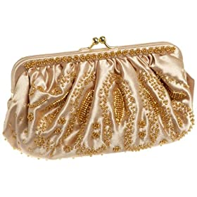 La Regale Gathered Satin Clutch with Beads & Shoulder Strap,Champagne,
