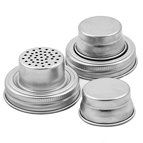 Mason Jar Shaker Lids - 2 Pack - Awesome to Shake Cocktails or Your Best Dry Rub - Mix Spices, Dredge Flour, Sugar & More - Fits Any Regular Mouth Canning Jar - Durable, Rust Proof Stainless Steel (Canning Jar Lamp Kit compare prices)