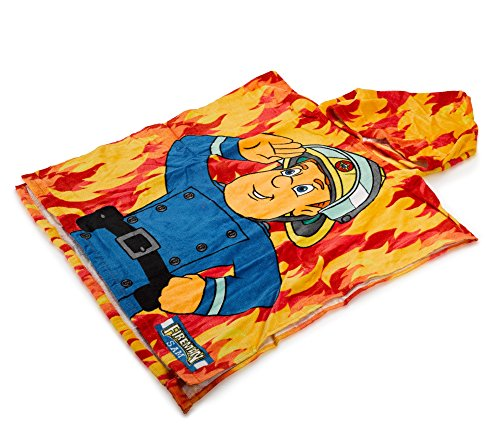 Fireman-Sam-Feuerwehrmann-Sam-Kaputzenhandtuch-Poncho-Handtuch-Offiziell-lizensierter-Fireman-Sam-Fanartikel