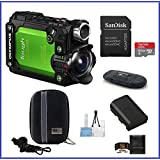 Olympus Stylus Tough TG-Tracker Action Camera (Green) Pro Bundle, Includes: 64GB MicroSDXC Class 10 Memory Card, Case, Spare Battery and more ...