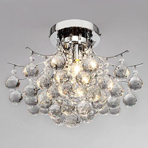 Lightinthebox Modern Crystal Mini Style Flush Mount Chandelier With 3 Lights Ceiling Light Fixture For Study Room/Office, Dining Room, Bedroom, Living Room front-952350