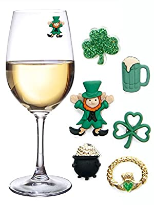 St. Patricks Day Magnetic Wine Charms & Markers for Making Glasses Unique - Set of 6 Identifiers
