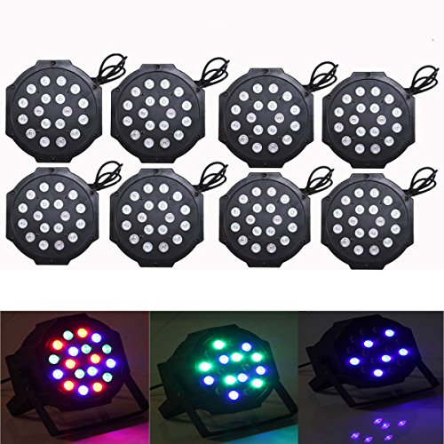 Yiscor Stage Lighting Led Par Light 18Leds 54W Dmx512 For Disco Dj Club Show Home Garden Xmas Christmas Birthday Party Effect (Pack Of 8)