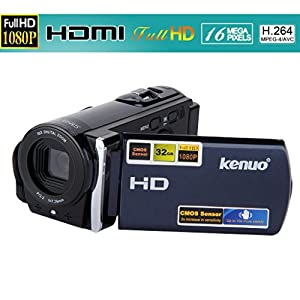 KENUO 3.0 TFT LCD HD 1080P 16MP Camcorder Digital Video Camera 16x Zoom DV Blue W/ HDMI US Warranty And Support