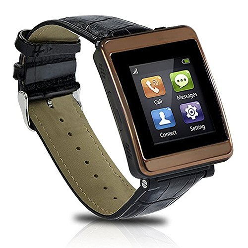 Digitsea® Gsm & Bluetooth Genuine Leather Wristband P1 Smart Watch Phone Work With Android Ios Iphone Samsung Galaxy Htc / Gsm Band: 850/900/1800/1900Mhz / Data: Gprs/Edge 1.54 Inch Capacitive Touchscreen(Brown)