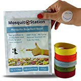 MosquitoStation Natural Mosquito Repellent Bracelets + Free Bonus 6 Repellent Patches, Bracelets in a variety of colors, Deet Free Safe For Kids No Spray,Insect Control Bug,For 5-7 Days - 5 Pack