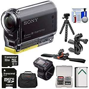 Sony Action Cam HDR-AS20 Wi-Fi 1080p HD Video Camera Camcorder with RM-LVR2 Remote + 32GB Card + Handlebar & Helmet Mounts + Battery + Case + Tripod + Kit