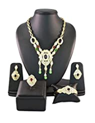 Multicolor Crystals Traditional Jewellery Set With Ring
