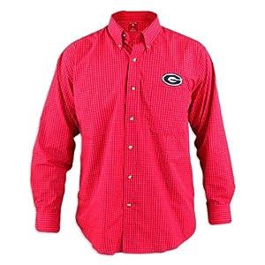 Georgia Bulldogs Esteem Red Buttondown Long Sleeve Shirt by Antigua