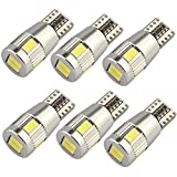 Bulbeats Canbus Error free 6 BS Chipset Interior Lights for W5W 194 168 2825 Replacement T10 Xenon White,Signal Lights, Trunk Lights, Dashboard Lights (Pack of 6)