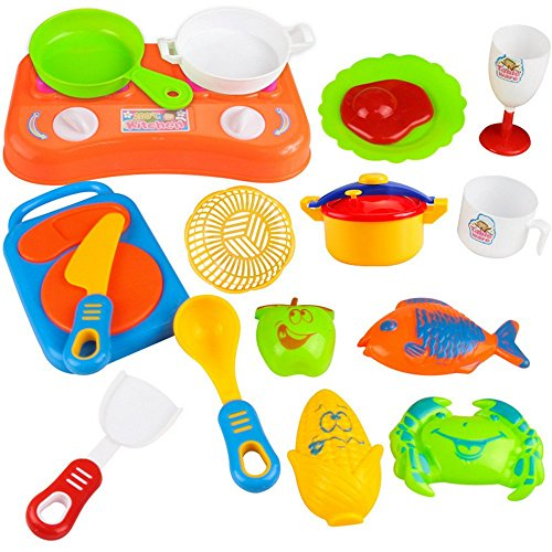 Education toys,Baomabao 18pcs Plastic Kids Children Kitchen Utensils Food Cooking Pretend Play Set Toy (Cooking For 1 Year Old compare prices)