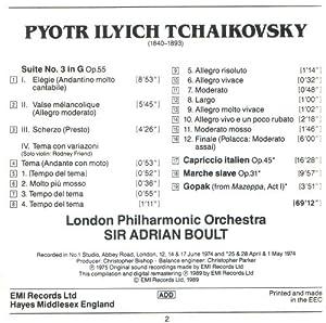 Sir Adrian Boult conducts Tchaikovsky: Suite no.3 in G - Capriccio Italien - Marche slave - Gopak from Mazeppa (EMI)