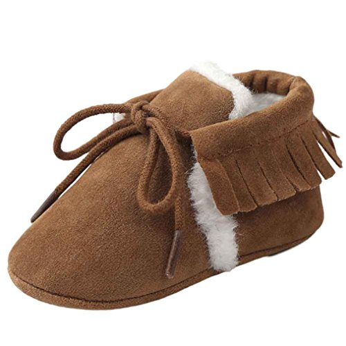 Voberry Toddler Baby Boy's Cotton Sneaker Shoes Lace up Fur Snow Boots Warm (12~18 Month, Brown)