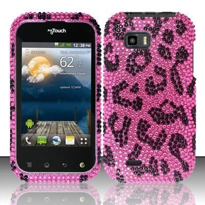 Pink Leopard Hard Plastic Bling Rhinestone Case For Lg Mytouch Q C800 / Maxx Q (T-Mobile Slider Version) [In Twisted...