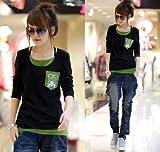【KURIJYUA】クリジュア レディース 大きいサイズ 長袖 セレブ カジュアル フェイクレイヤード Tシャツ カットソー 2L 3L 4L 5L ブラック LL