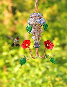 Perry's Glass Hummingbird Feeder witih Copper Accents - ARTESIAN SWIRL CRYSTAL - Handcrafted