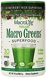 MacroLife Naturals Superfood Macro Greens, 30 Servings - 10 ounces