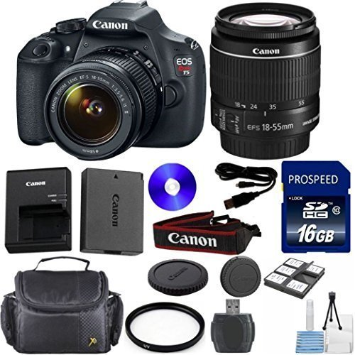 Cheapest Prices! Canon Rebel T5 DSLR Camera Bundle with Canon 18-55mm IS II Standard Lens and Deluxe...