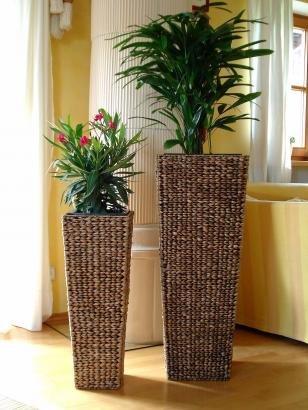 2er Set Wasserhyazinthe Blumenkübel Blumentöpfe Übertöpfe Taipei 87/62cm hoch braun