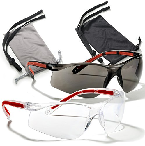 Safety Glasses Eye Protection 2 Pair (Clear & Smoke)+2 Cases+2 Neck Cords, Rubber Temples, Scratch Resistant Lenses. Z87 & CE 166 Certified. Your Satisfaction is Guaranteed. Add to Cart Now! (Shooting Range Glasses compare prices)