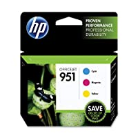 HP 951 Ink Cartridges, Cyan/Magenta/Yellow, 3-Pack (CR314FN) from Hewlett Packard SOHO Consumables