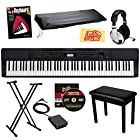 Casio Privia PX-350 88-Key Digital Piano Bundle with Gearlux Padded Flip-Top Bench, Gearlux JX-51 Stand, Gearlux Dust Cover, Cherub WTB-004 Sustain Pedal, Samson HP-10 Headphones, Hal Leonard Instructional Book, and Austin Bazaar Polishing Cloth - Black