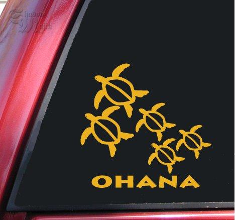 Ohana Honu Hawaiian Sea Turtle Family With 3 Babies Vinyl Decal Sticker - Mustard