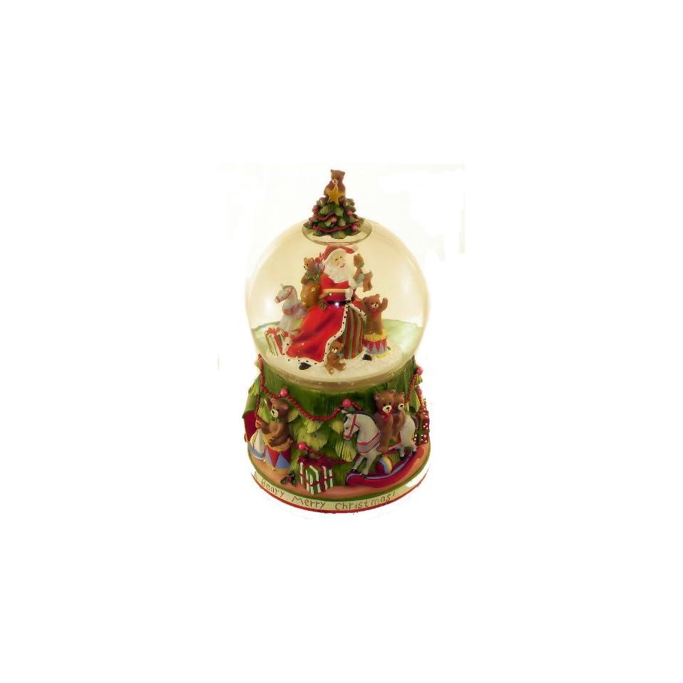 San Francisco Music Box Company   Santa With Tree and Teddy Bears Water Globe The Christmas Song