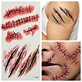 AUDEW 105x60mm Colla Ferita Scab Halloween Party Sangue Temporary Tattoo Sticker