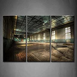 Modern Home Decoration painting 3 Panel Wall Art Abandoned Gym Shabby Window Messy Sunshine Pictures Print On Canvas Architecture The Picture piece