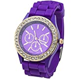Fashion Silicone Golden Crystal Stone Quartz Ladies Jelly Wrist Watch Purple