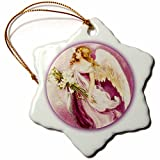 3dRose orn_14783_1 Easter Angel Textured Porcelain Snowflake Ornament, 3-Inch