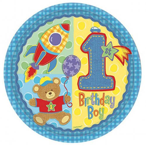"Hugs & Stitches One-Year-Old First Birthday Boy (10 1/2"" Party Plates - 8 ct)"