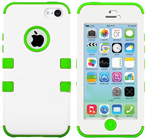 Mylife Bright Green And White - Flat Color Series (Neo Hypergrip Flex Gel) 3 Piece Case For Iphone 5/5S (5G) 5Th Generation Smartphone By Apple (External 2 Piece Fitted On Hard Rubberized Plates + Internal Soft Silicone Easy Grip Bumper Gel) front-347376