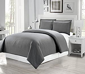 1500 Thread Count Egyptian Quality DOBBY STRIPE Duvet Cover Set, 3pc Luxury Soft, All Sizes & Colors, (Full/ Queen, Grey)