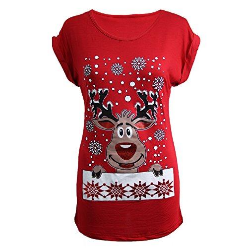 womens-ladies-christmas-glitter-t-shirt-reindeer-santa-snowman-print-xmas-tops-m-l-uk-size-12-14-red