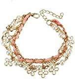 Shining Diva Fashion Ocean White Pearl Leather Clover Rope Charm Bracelets For Girls
