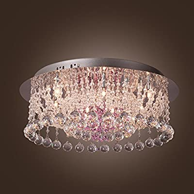 (USA Warehouse) Round Rain Fall Crystal Lighting Ceiling Flush Mount Pendant Lamp Chandelier US -/PT# HF983-1754355954