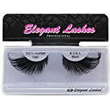 Elegant Lashes #535L Thick Long Black Human Hair False Eyelashes for Drag Queen Halloween Dance Costume