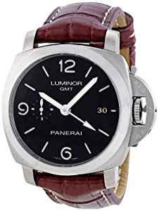 Panerai Men's PAM00320 Luminor 1950 3-Days Automatic GMT Black Dial Watch by Panerai