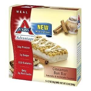 Atkins Advantage Cinnamon Bun Bar 5x1.7oz (Pack of 3)