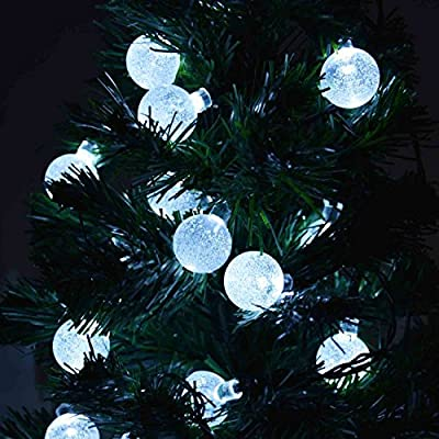 NEWSTYLE 16.4Ft 30 LED Crystal Ball Solar Powered Outdoor String Lights for Outside Garden Patio Party Christmas