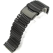 """20mm Ploprof 316 Reform Stainless Steel """"Shark"""" Mesh Watch Band Diver Strap PVD Black, AB"""