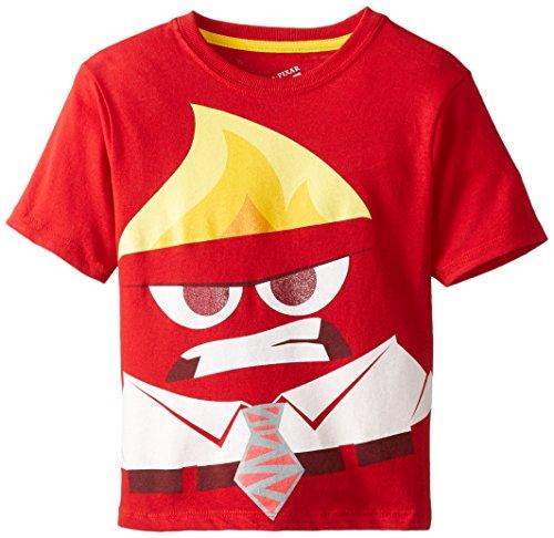 Disney Little Boys' Inside Out Anger Short Sleeve Tee, Red, 4