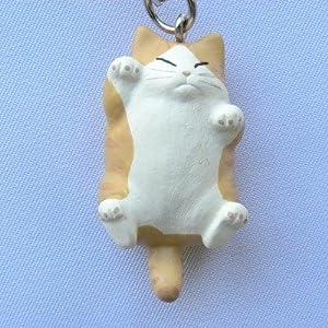 でぶ猫ストラップ 白/茶トラ
