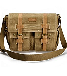 "ZLYC Retro Men's Canvas Leather Messenger Shoulder Bag Fits iPad Air 11"" laptops"