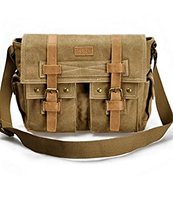 "ZLYC Retro Men's Canvas Leather Messenger Shoulder Bag Fits iPad Air 11"" laptops"