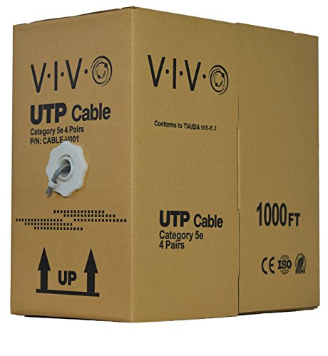 New 1,000 ft bulk Cat5e Ethernet Cable / Wire UTP Pull Box 1,000ft Cat-5e Style Grey ~ VIVO (CABLE-V001)