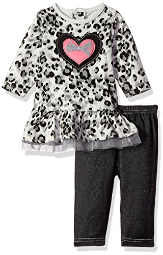 BON BEBE Girls' 2 Piece Dress and Jegging Set, Leopard/Hearts, 18 Months
