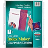 Avery Index Maker Clear Pocket Clear Label Dividers, 8-Tab Set (75501)